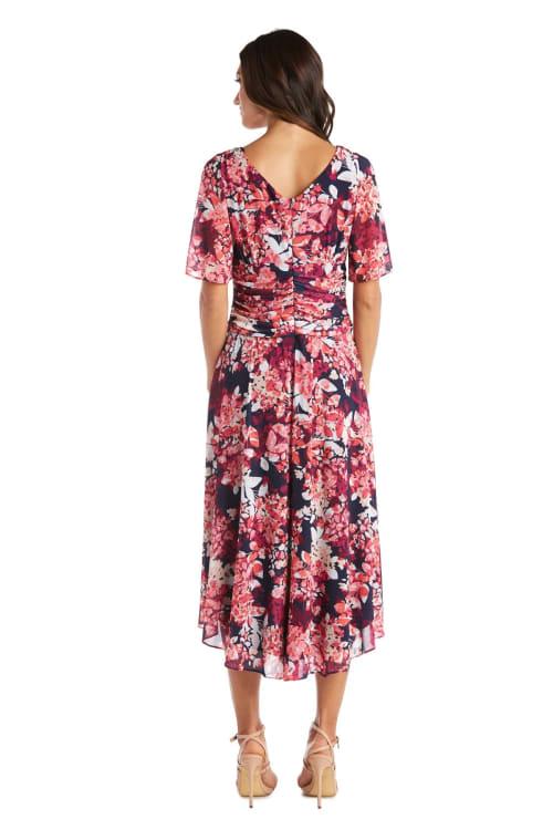 High-Low Daytime Print Bell Sleeve Dress - Back
