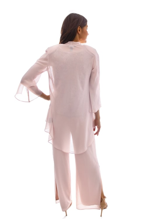 Three-Piece High-Low Duster Pant Set - Back