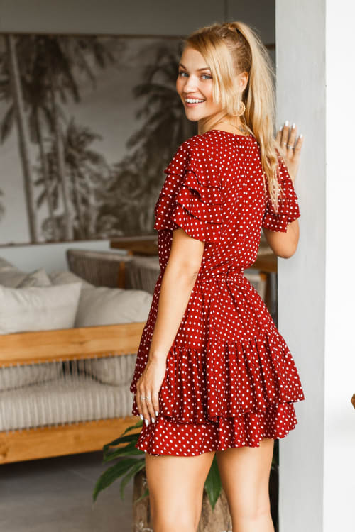 Bonfire Layered Mini Dress - Back