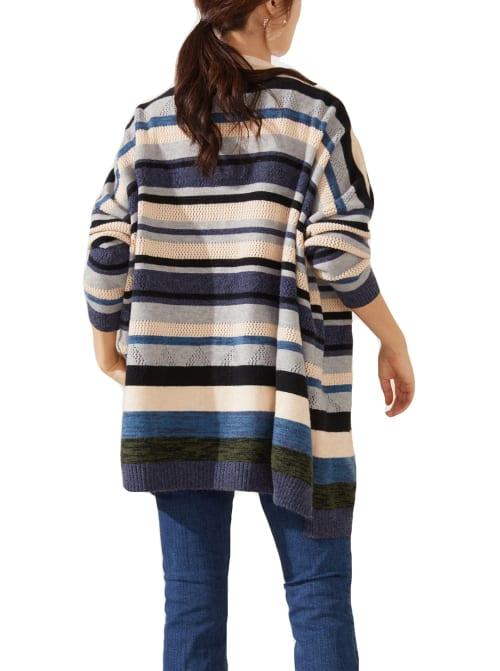 Drop Shoulder Stripe Cardigan - Back