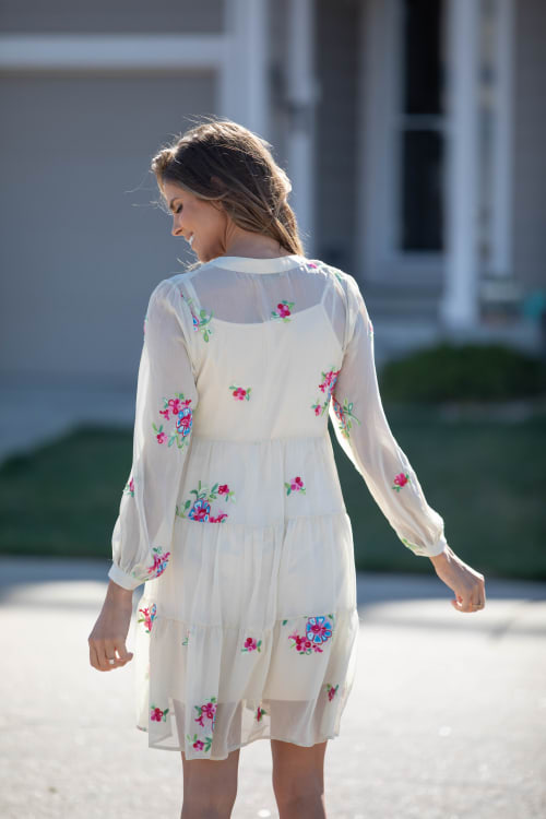 Odessa Ivory Embroidered  Baby Doll Dress - Back