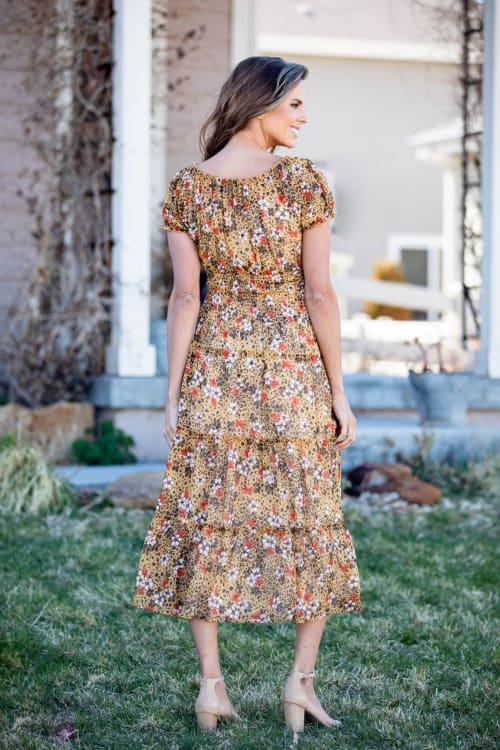 Vienna Buttercup Maxi Peasant Dress - Back