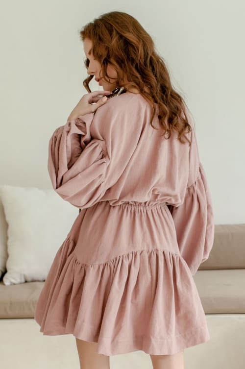 Alessandra Balloon Sleeve Linen Mini Dress  - Plus - Back