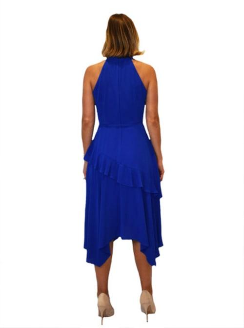 Bleecker 126 Hi Neck Asymmetrical Hem Dress - Back