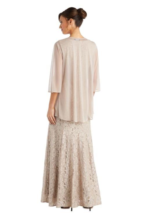 Long Flyaway Sheer Jacket Over Lace Aline Dress With Beaded Necklace - Back