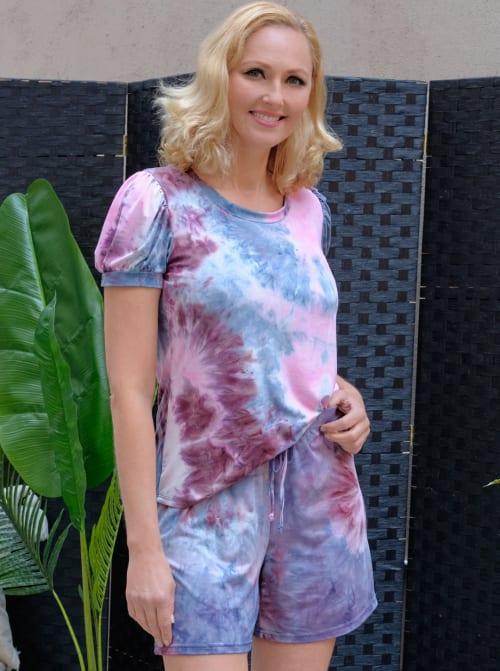 Pink Tie Dye Drawstring Short - Back