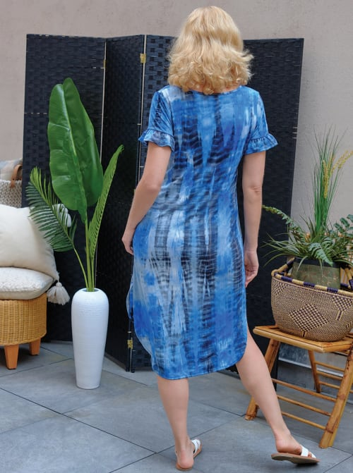 Denim Friendly Tie Dye Keyhole Dress - Back