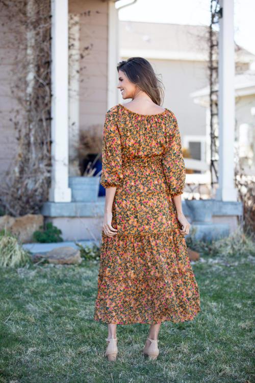 Veronica Camel Ditsy Floral Maxi Dress - Back