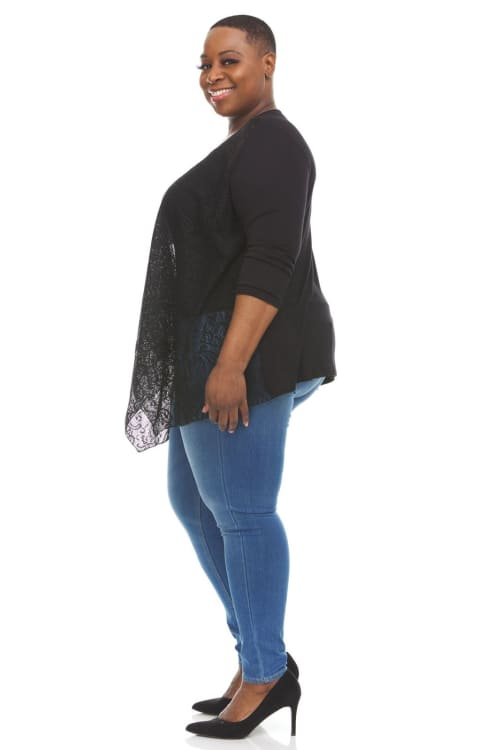 Cascading Open Front Cardigan With Lace  - Plus - Back