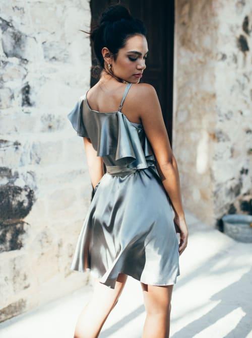 Wrap Style Ruffle Olive Dress - Back