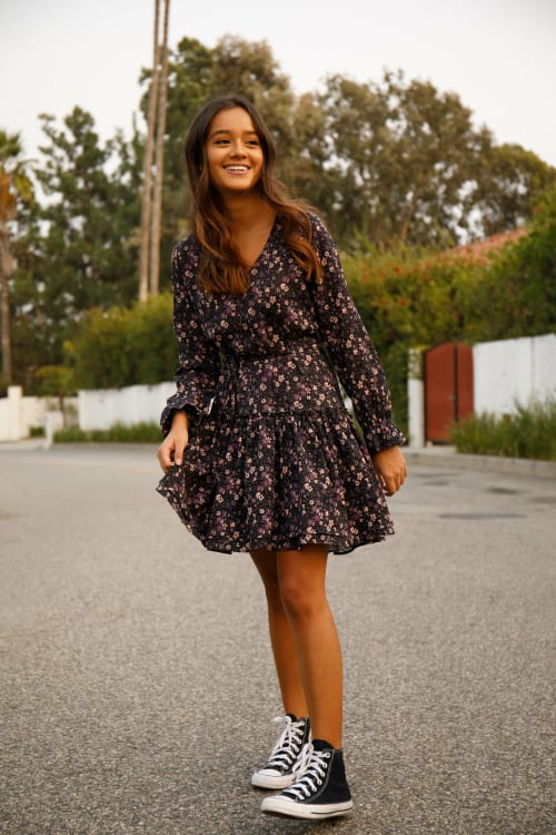A. Helm Randall Fitted Floral Long Sleeve Dress - Back