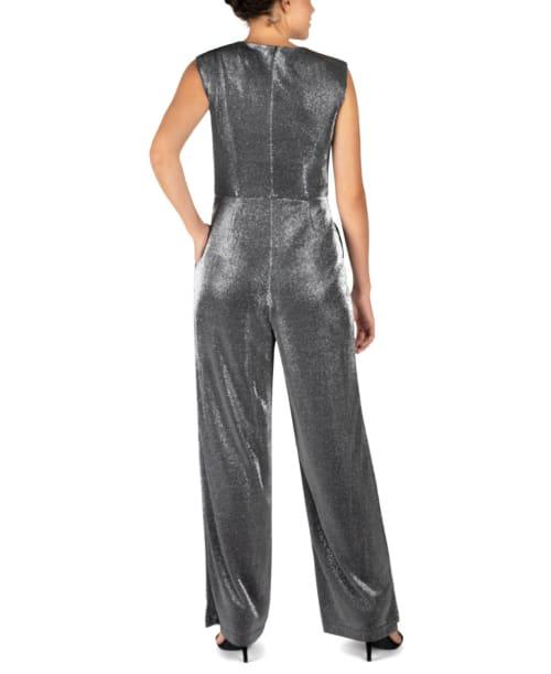 DR Sleeveless Metallic Knit Jumpsuit - Back