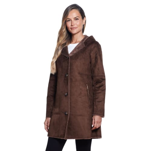 Gallery Coats Hooded Faux Shearling Hits Above The Knee - Back