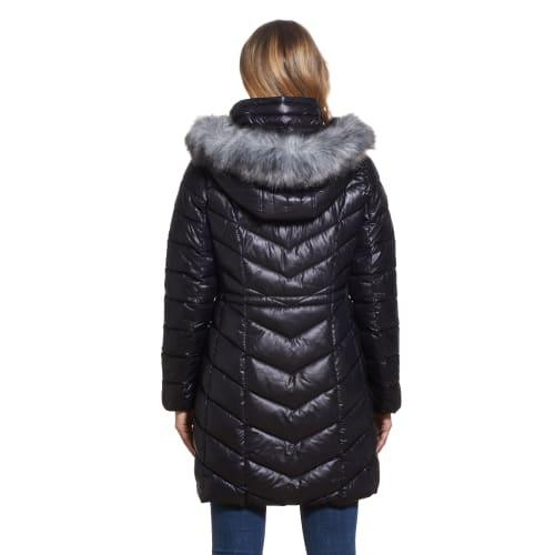 Gallery Coats Puffer With Detach Faux Fur Trim Hood - Back