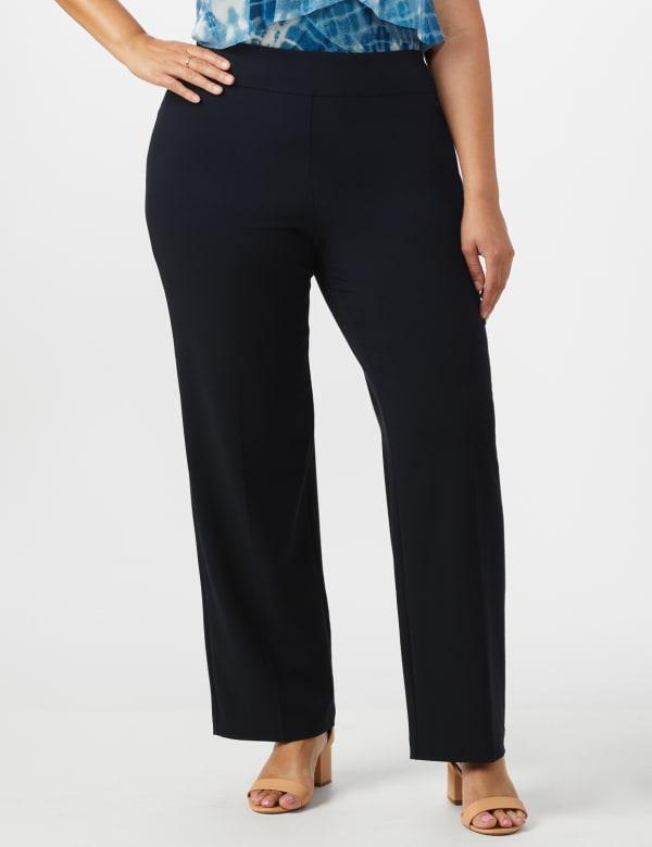 Roz & Ali Plus Secret Agent Tummy Control Pull On Pants - Average Length-Plus - navy - Front