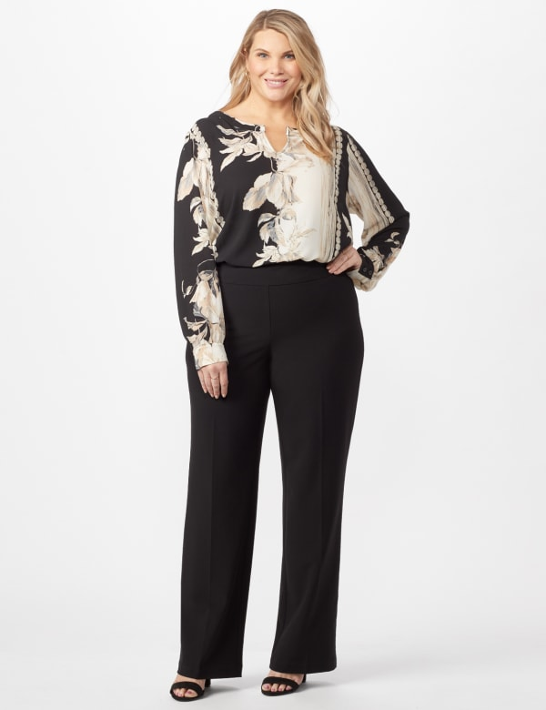 Roz & Ali Secret Agent Pull On Tummy Control Pants - Tall Length - Plus - Black - Front