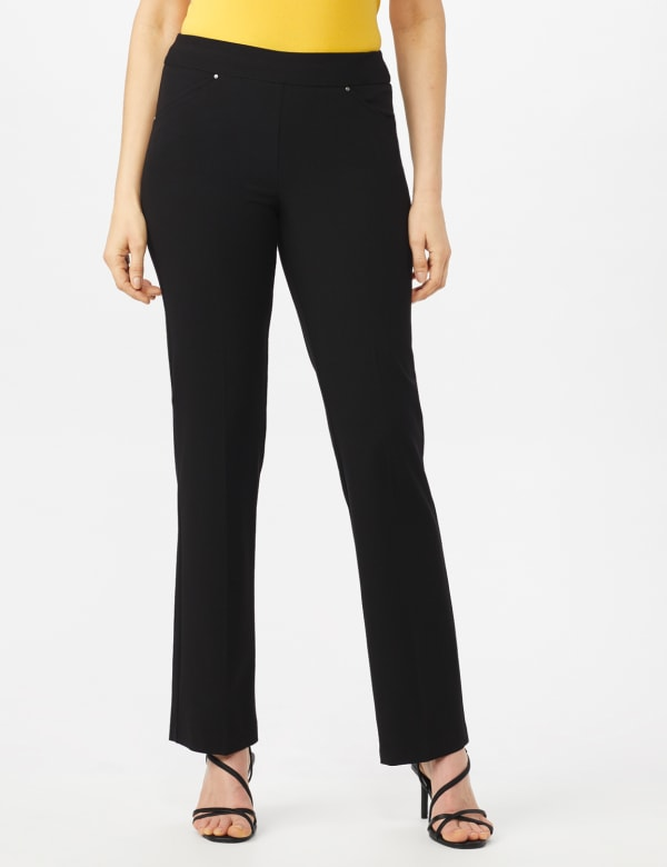 Roz & Ali Secret Agent Tummy Control Pants Cateye Rivets - Average Length - Misses -Black - Front