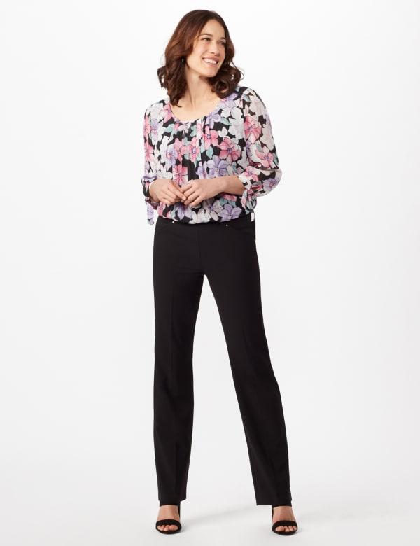 Roz & Ali Secret Agent Tummy Control Pants Cateye Rivet - Tall Length - Misses - Black - Front