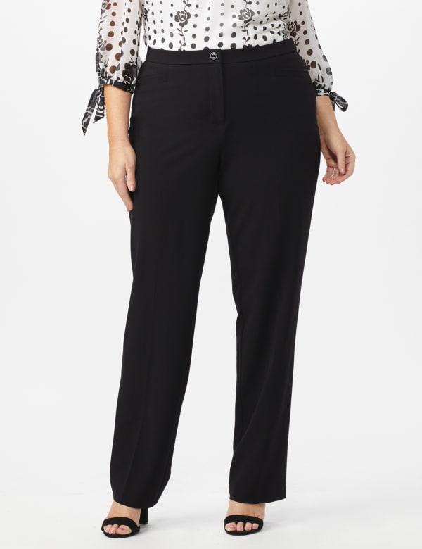 Plus Roz & Ali  Plus Secret Agent Trouser  Pants with Cat Eye Pockets & Zip - Black - Front