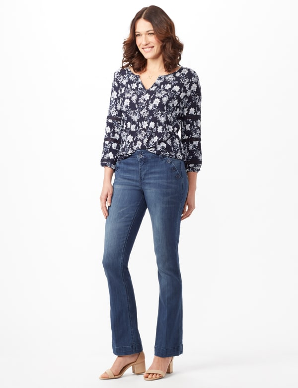 Denim Trousers with Button Pocket Detail - Medium Stone Wash - Front