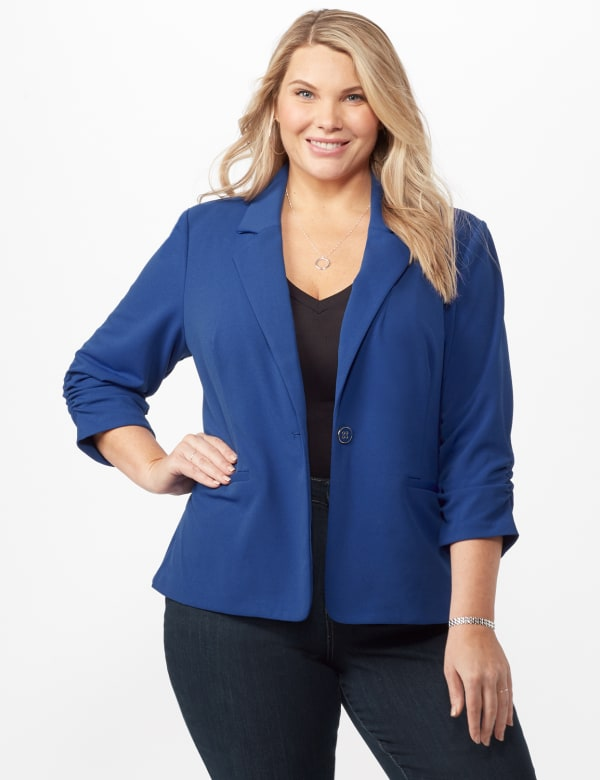 Cinched Sleeve One pocket Notch Collar Topper Plus - Royal - Front