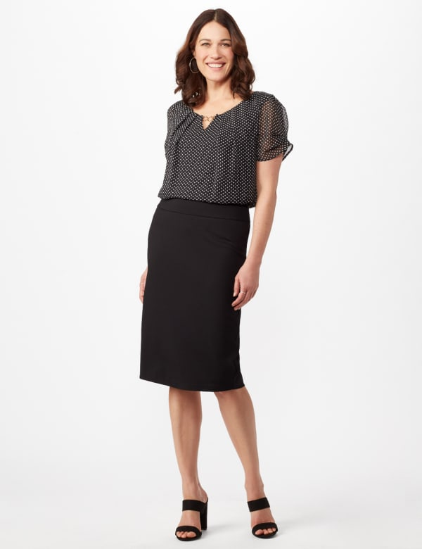 Pull On Ponte Skirt -Black - Front