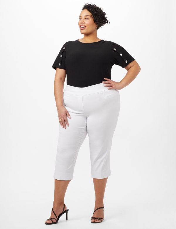 L-Pocket Pull-On Crop Pants -Optic White - Front