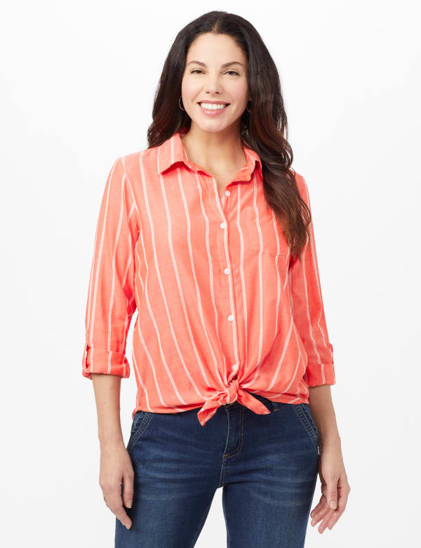 Roll Tab Striped Button Front Shirt -Coral - Front