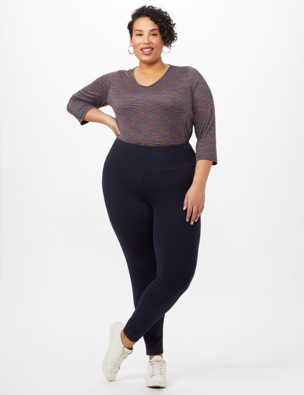Tummy Control Leggings - Navy - Front