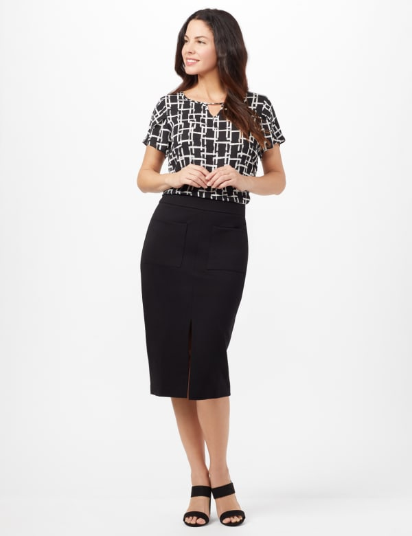 Patch Pocket Ponte Skirt - Black - Front