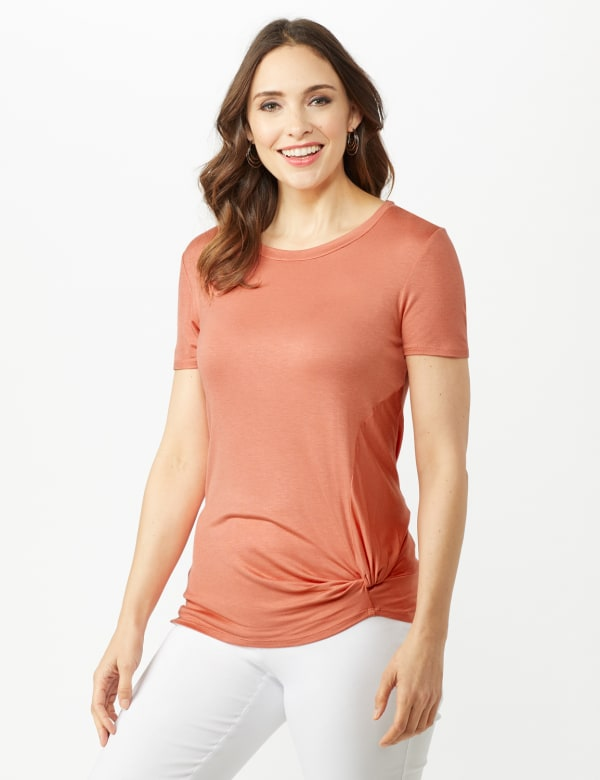 Twist Neck Side Knot Tee - Terra Cotta - Front