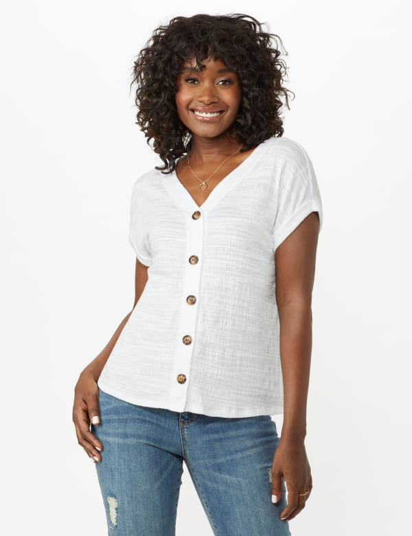 Button Front Texture Knit Top - White - Front