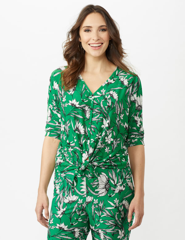 Floral Tie Front Knit Top - Bright Green - Front