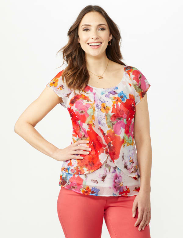 Floral Tier Print Top - Multi - Front