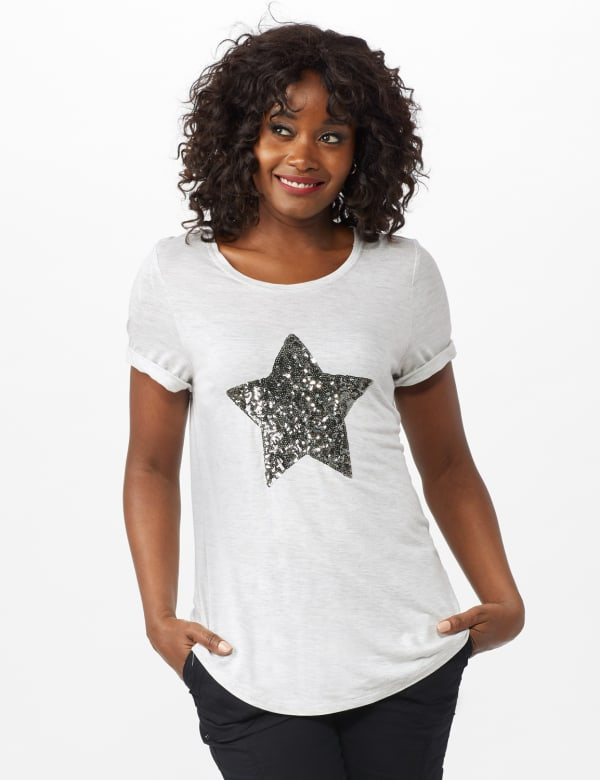 Sequin Star Tee - Heather Grey - Front