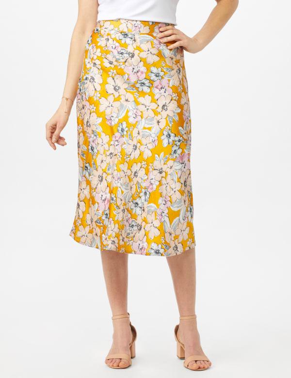 Floral Printed Slip Skirt - Gold - Front