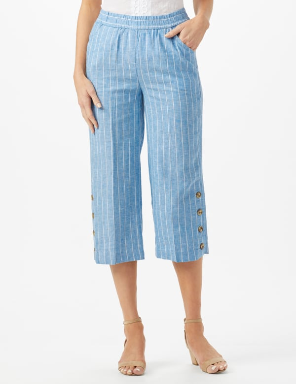 Striped Elastic Waist Crop With Button Detail on Leg - Blue/White - Front