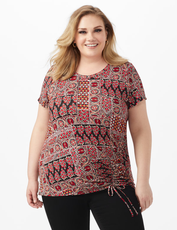 Patchwork Ruched Tie Front Top - Plus - Black - Front