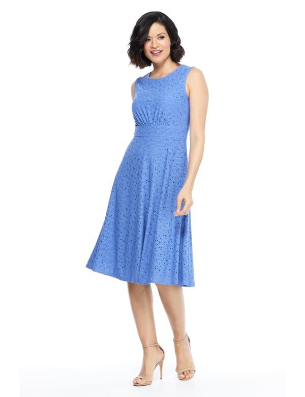 Sleeveless Eyelet Jersey Midi Dress - Cobalt - Front