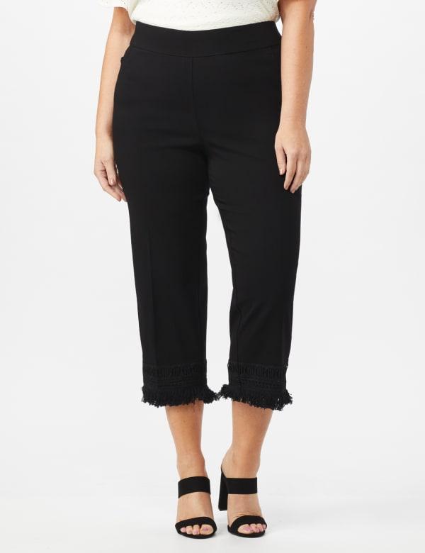 Pull On Crop Pants with Fringe Hem Detail - Black - Front