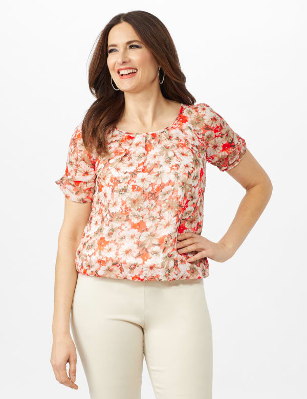 Floral Pleat Neck Bubble Hem Top- Petite - Coral/Tan - Front