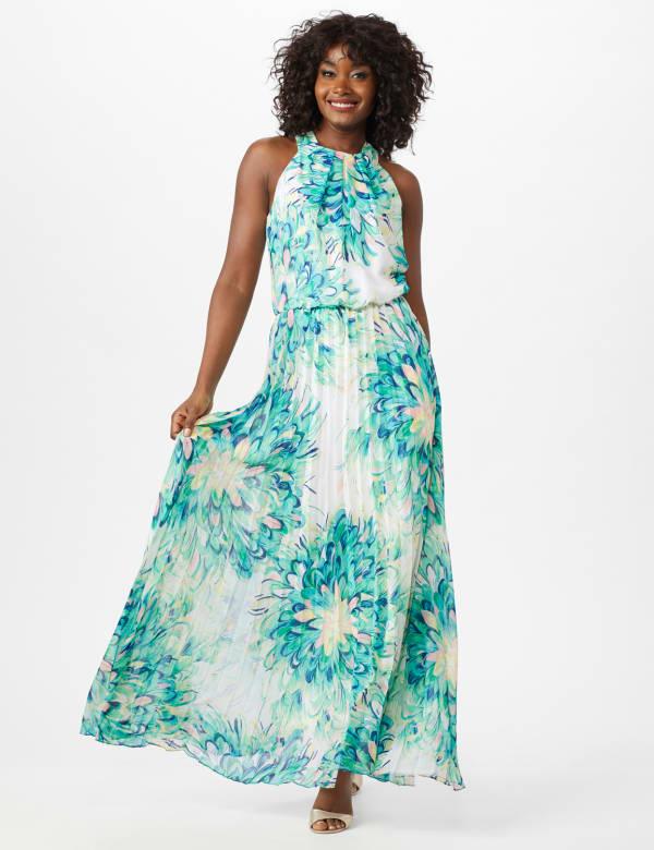 Flower Pleated Skirt Patio Dress - Aqua Multi - Front