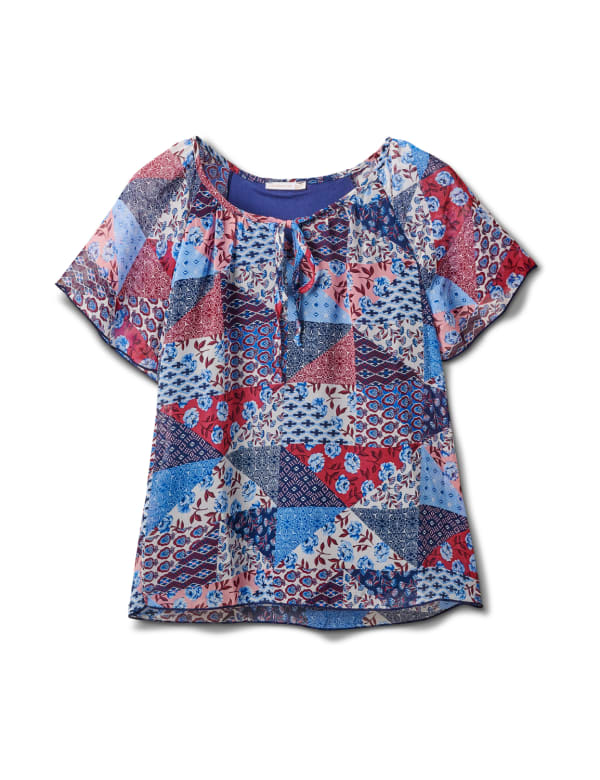 Patchwork Peasant Woven Blouse - Misses - Navy - Front