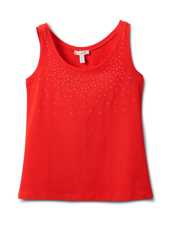 Studded Knit Tank - Red - Front