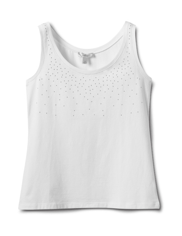 Studded Knit Tank - White - Front