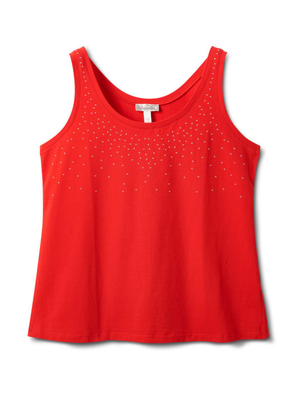 Studded Knit Tank - Plus - Red - Front