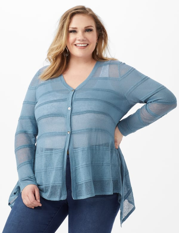 Button Front Sharkbite Cardigan - Plus - Antique Blue - Front