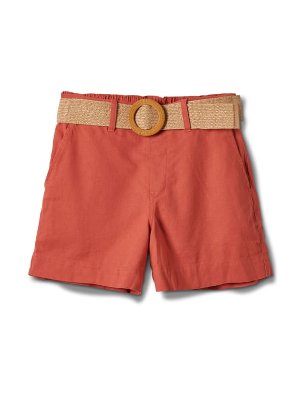 High Rise A Line Shorts With Belt -Papaya - Front