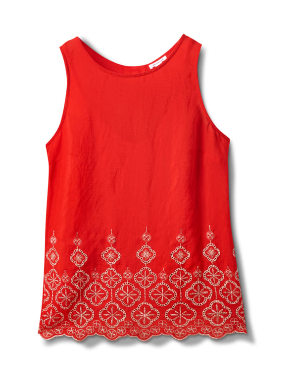 Westport Embroidered Blouse - Red/Blue - Front
