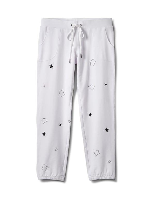 Embroidered Star Knit Pant - White - Front